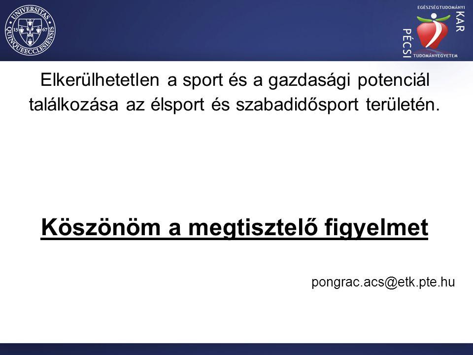 Elkerülhetetlen a sport és a gazdasági potenciál találkozása az élsport és szabadidősport területén.
