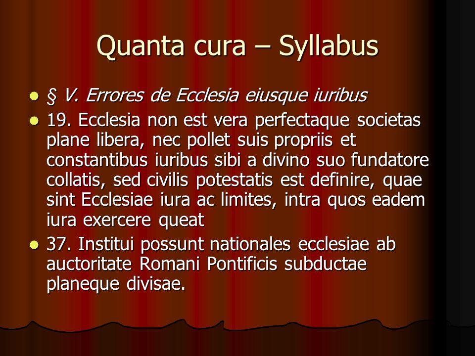 Quanta cura – Syllabus § V.Errores de Ecclesia eiusque iuribus § V.