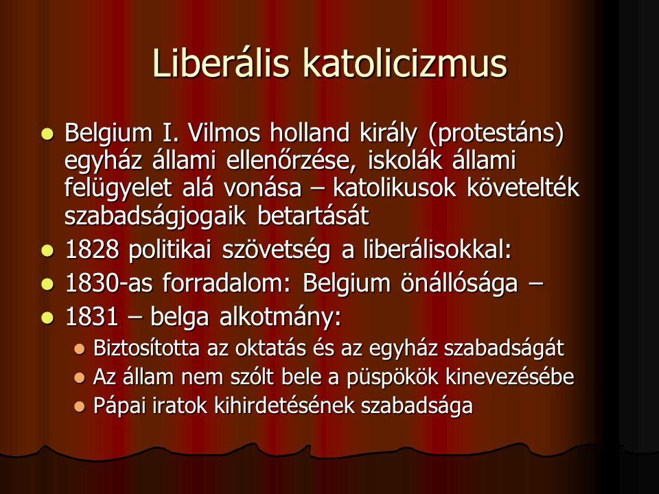 Liberális katolicizmus Belgium I.