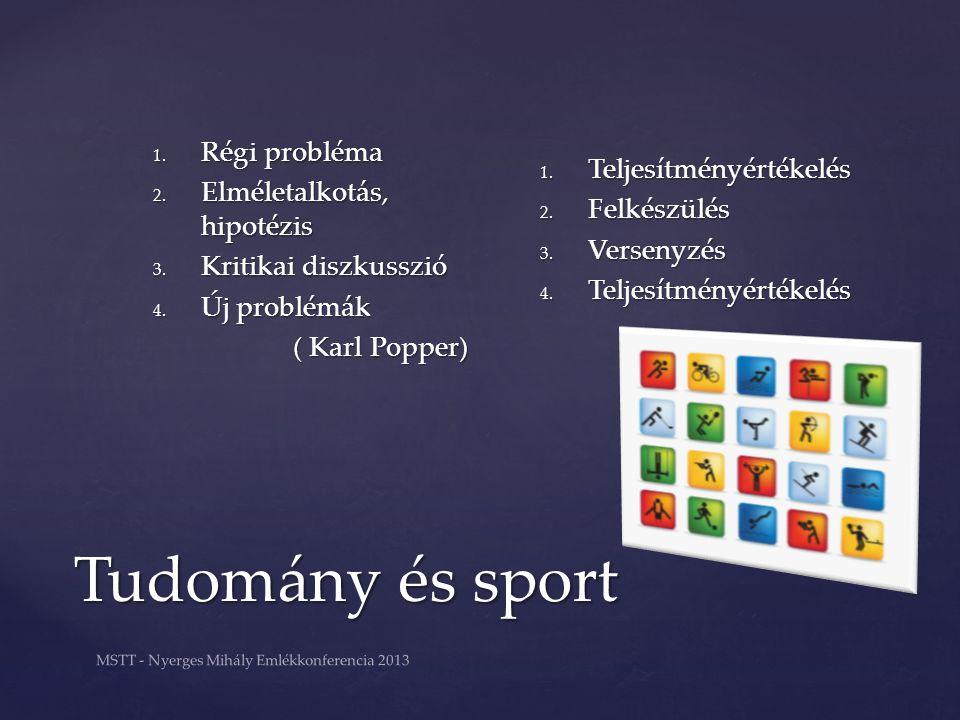 MSTT - Nyerges Mihály Emlékkonferencia 2013 Tudomány és sport Tudomány és sport 1. Régi probléma 2. Elméletalkotás, hipotézis 3. Kritikai diszkusszió