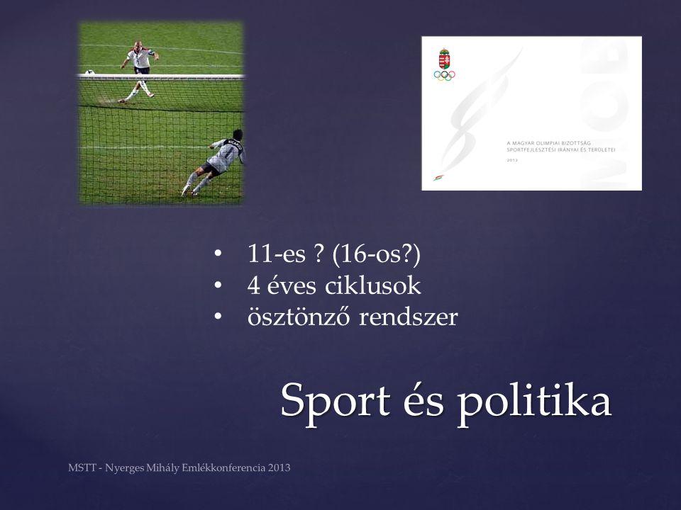 Sport és politika MSTT - Nyerges Mihály Emlékkonferencia 2013 11-es ? (16-os?) 4 éves ciklusok ösztönző rendszer