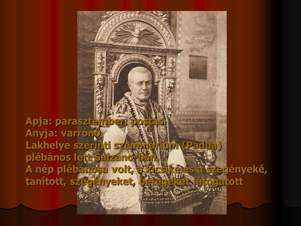 Apja: parasztember, postás Anyja: varrónő Lakhelye szerinti szeminárium (Pádua) plébános lett Salzano-ban. A nép plébánosa volt, a kicsiké és a szegén