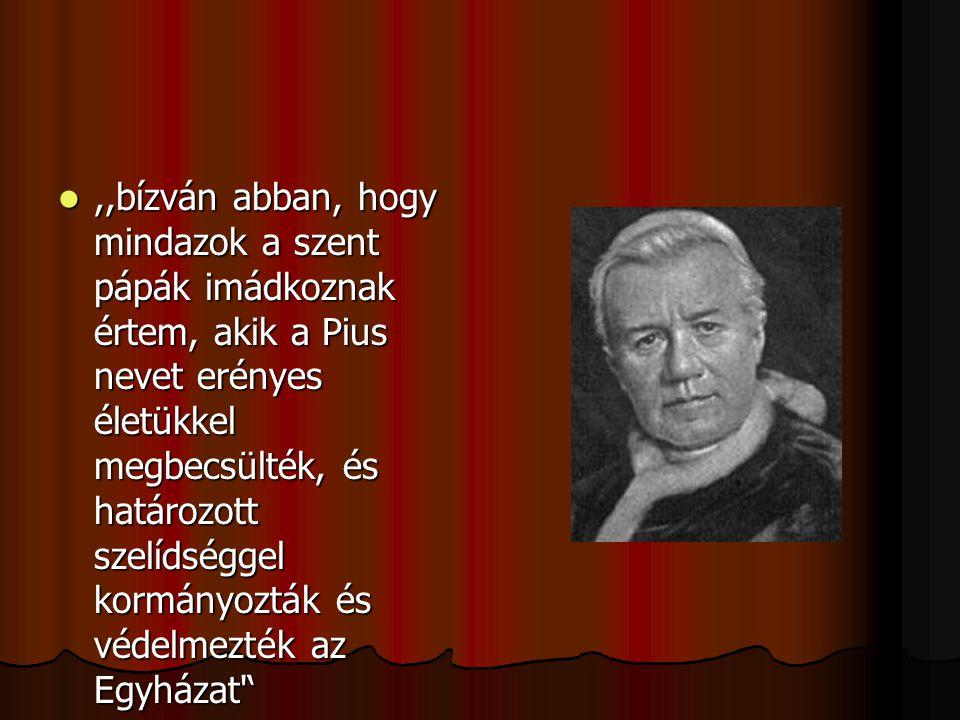 ,,bízván abban, hogy mindazok a szent pápák imádkoznak értem, akik a Pius nevet erényes életükkel megbecsülték, és határozott szelídséggel kormányoztá