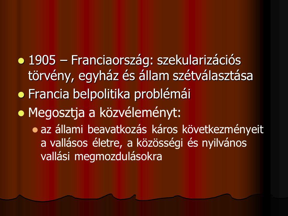A szeparációs törvény és az egyházi reakció Az 1905.