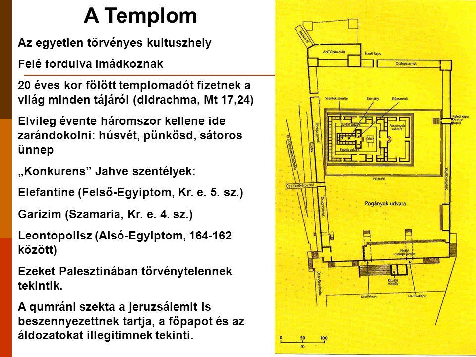 A templom története  Salamon építi 960 körül  587: a babiloniak lerombolják (> Róma gúnyneve a Jelenések könyvében  Zerubbábel újjáépíti 520-515 között  IV.