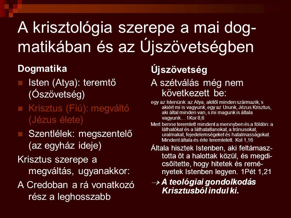 A krisztológia szerepe a mai dog- matikában és az Újszövetségben Dogmatika Isten (Atya): teremtő (Ószövetség) Krisztus (Fiú): megváltó (Jézus élete) S