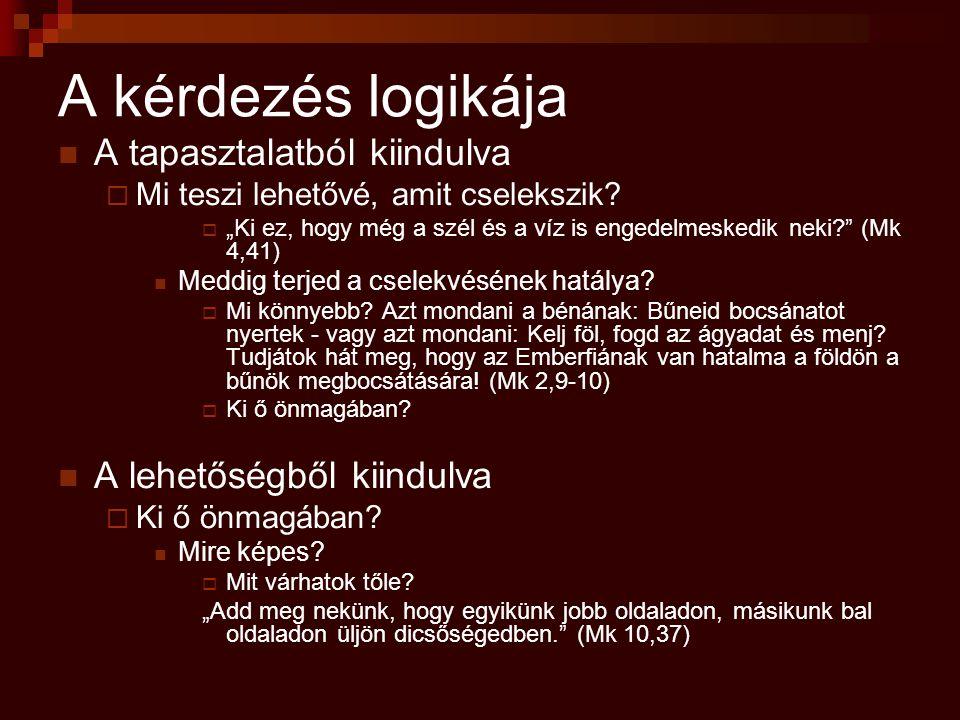 """""""Ki ő? Ontológiai válasz (ki ő önmagában)  Jézus a Logosz (Jn 1,1) Funkcionális válasz (mi a műve)  Minden általa lett (Jn 1,3)  Ő a világ világossága (Jn 1,9a) Egzisztenciális válasz (mi a szerepe az életemben)  Akik befogadták, Isten gyermekei lettek (1,12)  Minden embert megvilágosít (Jn 1,9b)"""