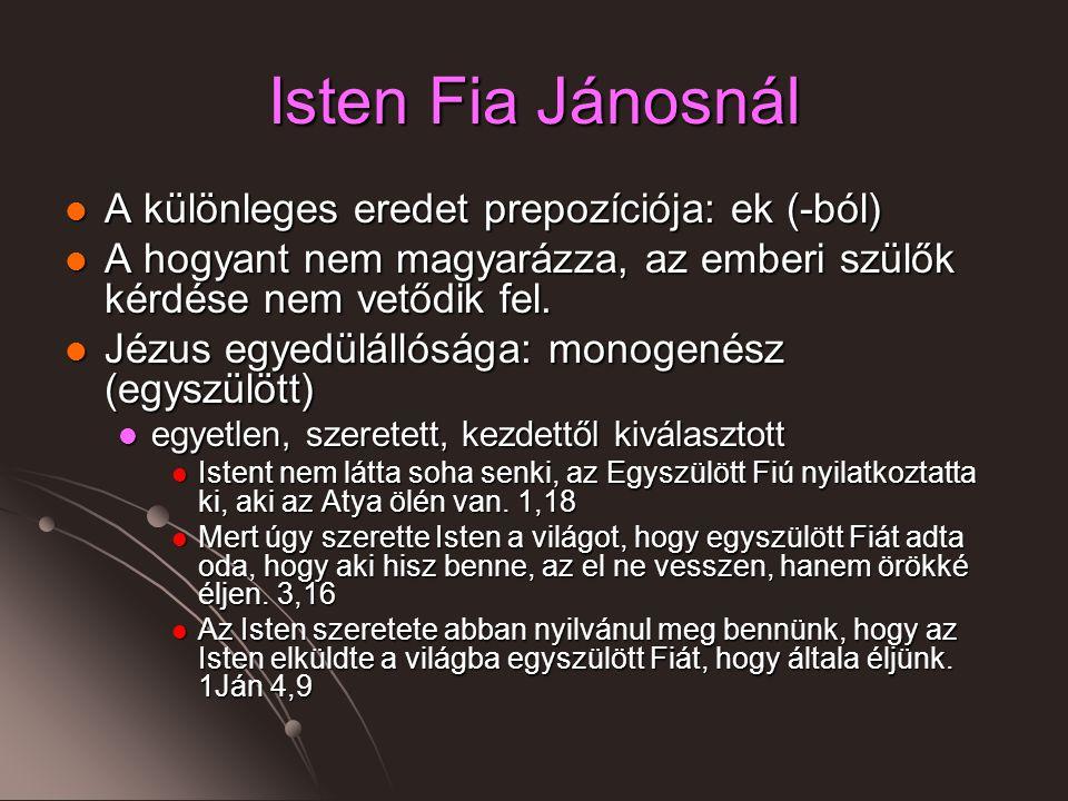 Isten Fia Jánosnál A különleges eredet prepozíciója: ek (-ból) A különleges eredet prepozíciója: ek (-ból) A hogyant nem magyarázza, az emberi szülők kérdése nem vetődik fel.