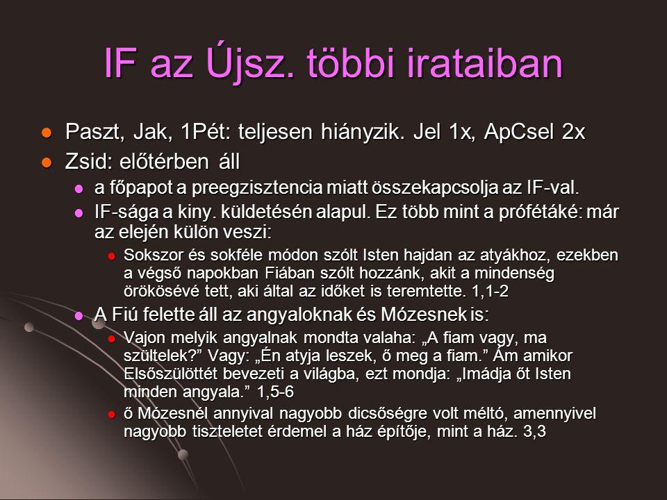 IF az Újsz.többi irataiban Paszt, Jak, 1Pét: teljesen hiányzik.