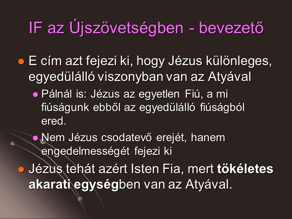 IF az Újszövetségben - bevezető E cím azt fejezi ki, hogy Jézus különleges, egyedülálló viszonyban van az Atyával E cím azt fejezi ki, hogy Jézus különleges, egyedülálló viszonyban van az Atyával Pálnál is: Jézus az egyetlen Fiú, a mi fiúságunk ebből az egyedülálló fiúságból ered.