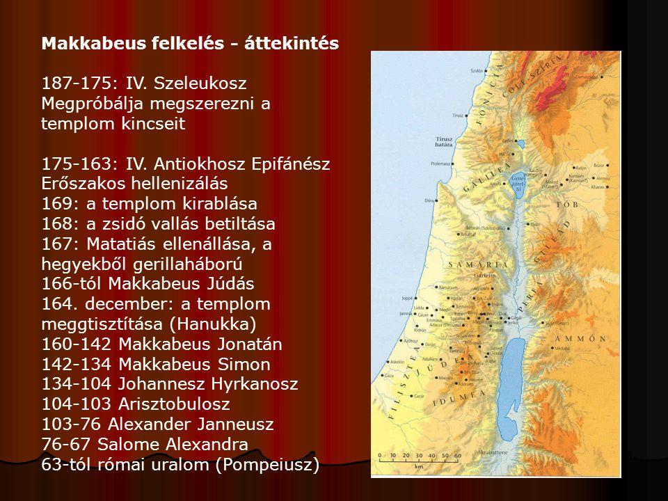 Makkabeus felkelés - áttekintés 187-175: IV. Szeleukosz Megpróbálja megszerezni a templom kincseit 175-163: IV. Antiokhosz Epifánész Erőszakos helleni