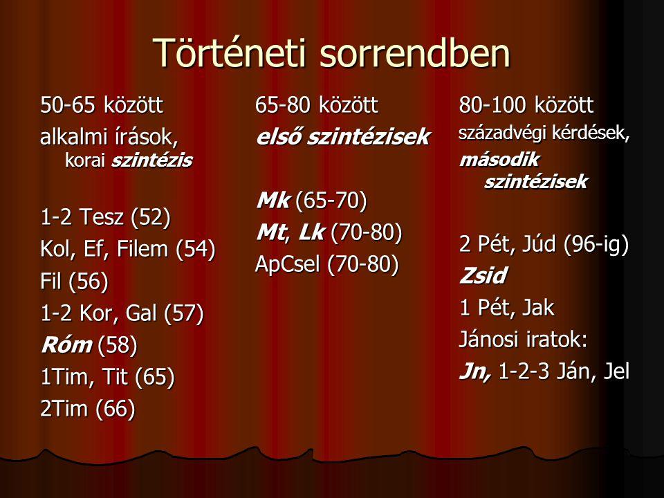 Történeti sorrendben 50-65 között alkalmi írások, korai szintézis 1-2 Tesz (52) Kol, Ef, Filem (54) Fil (56) 1-2 Kor, Gal (57) Róm (58) 1Tim, Tit (65)