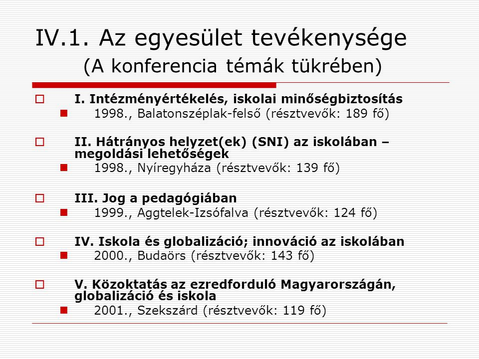 IV.1. Az egyesület tevékenysége (A konferencia témák tükrében)  I.