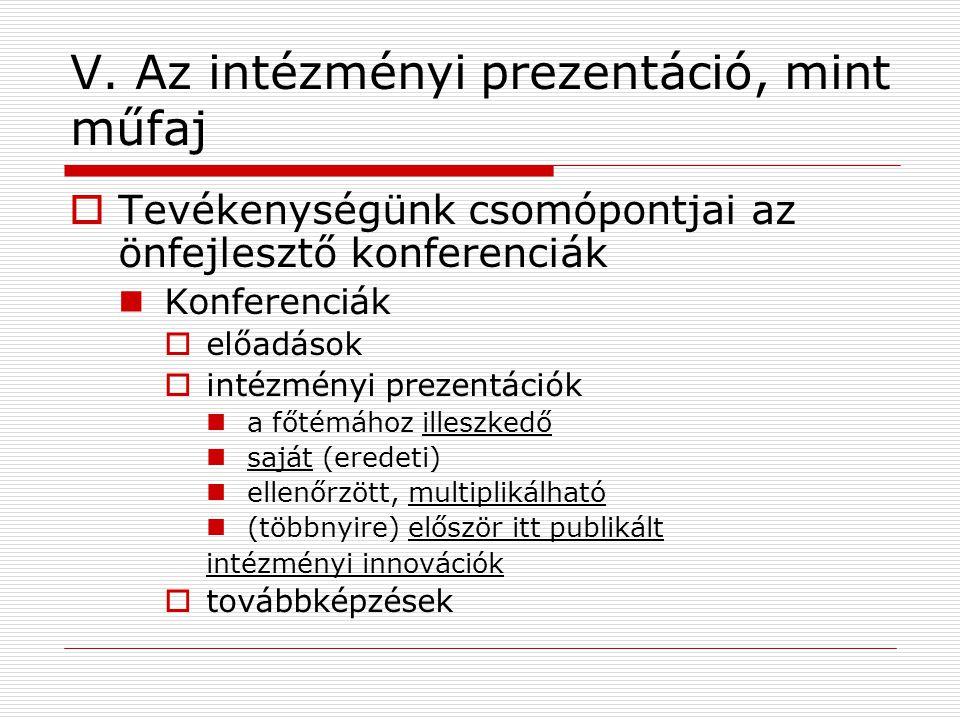 V. Az intézményi prezentáció, mint műfaj  Tevékenységünk csomópontjai az önfejlesztő konferenciák Konferenciák  előadások  intézményi prezentációk