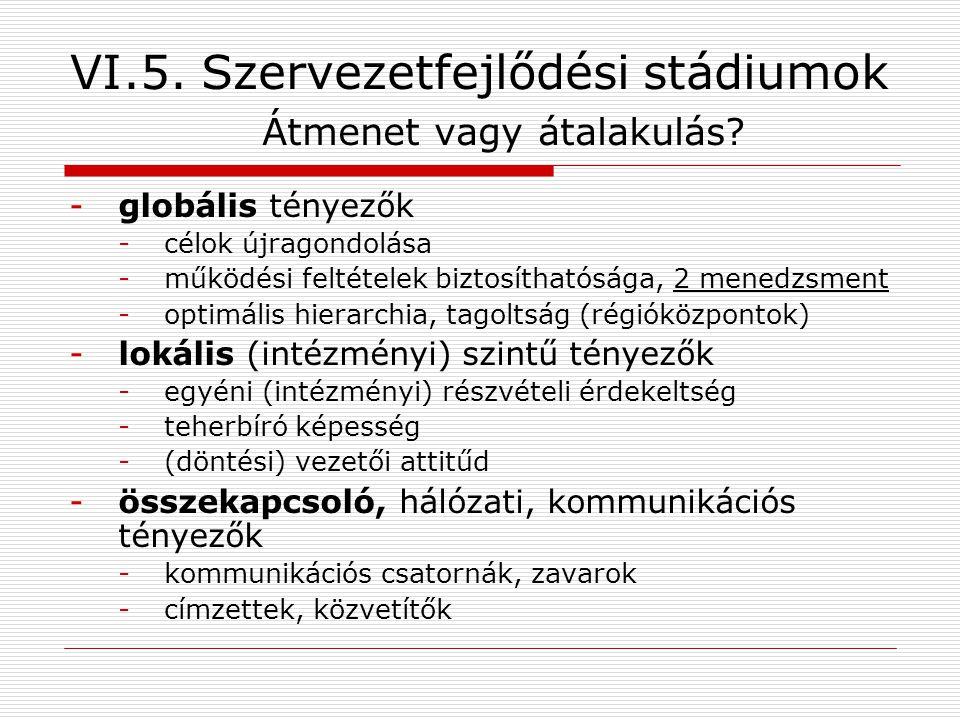 VI.5. Szervezetfejlődési stádiumok Átmenet vagy átalakulás.