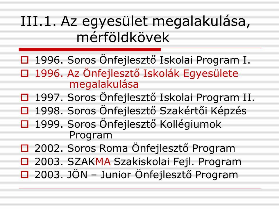 III.1. Az egyesület megalakulása, mérföldkövek  1996.
