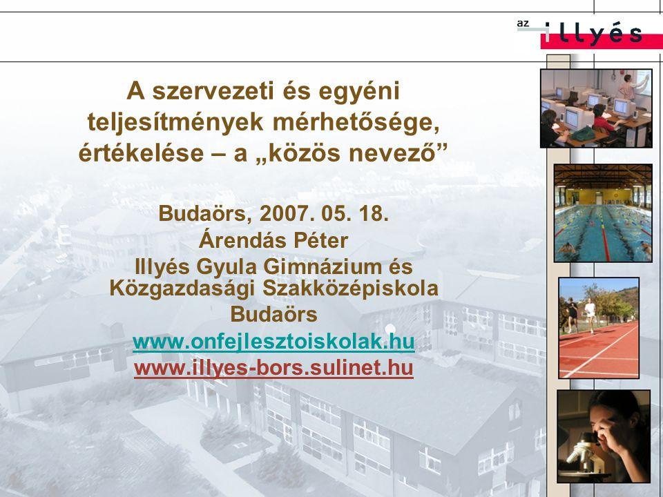 """A szervezeti és egyéni teljesítmények mérhetősége, értékelése – a """"közös nevező Budaörs, 2007."""