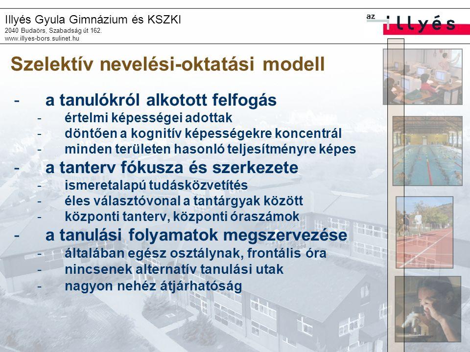 Illyés Gyula Gimnázium és KSZKI 2040 Budaörs, Szabadság út 162. www.illyes-bors.sulinet.hu Szelektív nevelési-oktatási modell -a tanulókról alkotott f