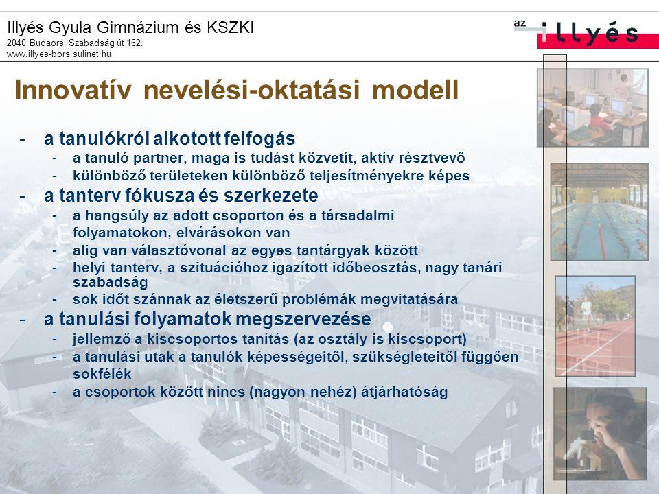 Illyés Gyula Gimnázium és KSZKI 2040 Budaörs, Szabadság út 162. www.illyes-bors.sulinet.hu Innovatív nevelési-oktatási modell -a tanulókról alkotott f