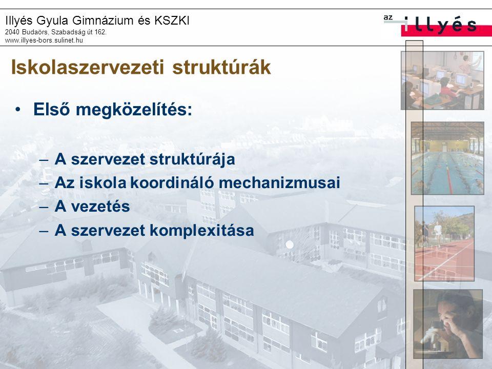 Illyés Gyula Gimnázium és KSZKI 2040 Budaörs, Szabadság út 162. www.illyes-bors.sulinet.hu Iskolaszervezeti struktúrák Első megközelítés: –A szervezet