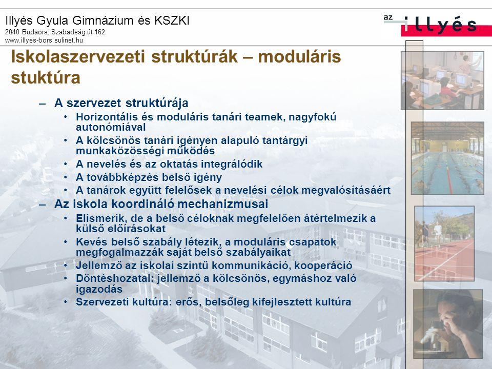 Illyés Gyula Gimnázium és KSZKI 2040 Budaörs, Szabadság út 162. www.illyes-bors.sulinet.hu Iskolaszervezeti struktúrák – moduláris stuktúra –A szervez