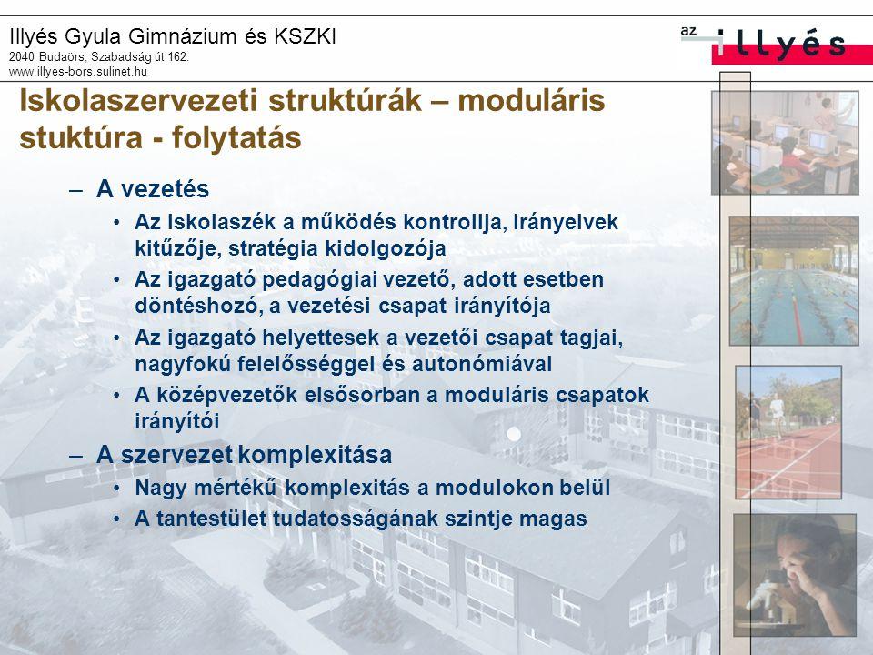 Illyés Gyula Gimnázium és KSZKI 2040 Budaörs, Szabadság út 162. www.illyes-bors.sulinet.hu Iskolaszervezeti struktúrák – moduláris stuktúra - folytatá