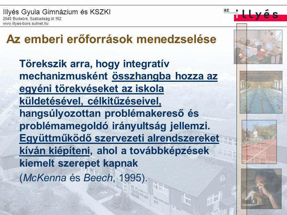 Illyés Gyula Gimnázium és KSZKI 2040 Budaörs, Szabadság út 162. www.illyes-bors.sulinet.hu Az emberi erőforrások menedzselése Törekszik arra, hogy int
