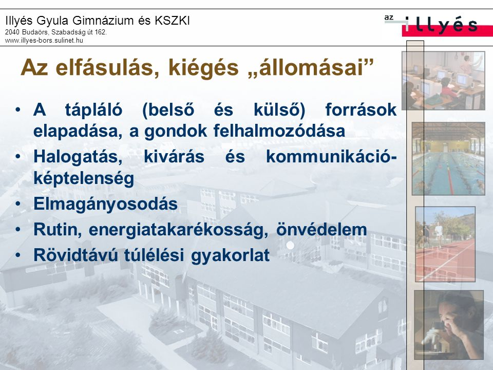 """Illyés Gyula Gimnázium és KSZKI 2040 Budaörs, Szabadság út 162. www.illyes-bors.sulinet.hu Az elfásulás, kiégés """"állomásai"""" A tápláló (belső és külső)"""