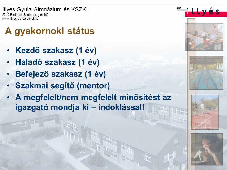 Illyés Gyula Gimnázium és KSZKI 2040 Budaörs, Szabadság út 162. www.illyes-bors.sulinet.hu A gyakornoki státus Kezdő szakasz (1 év) Haladó szakasz (1