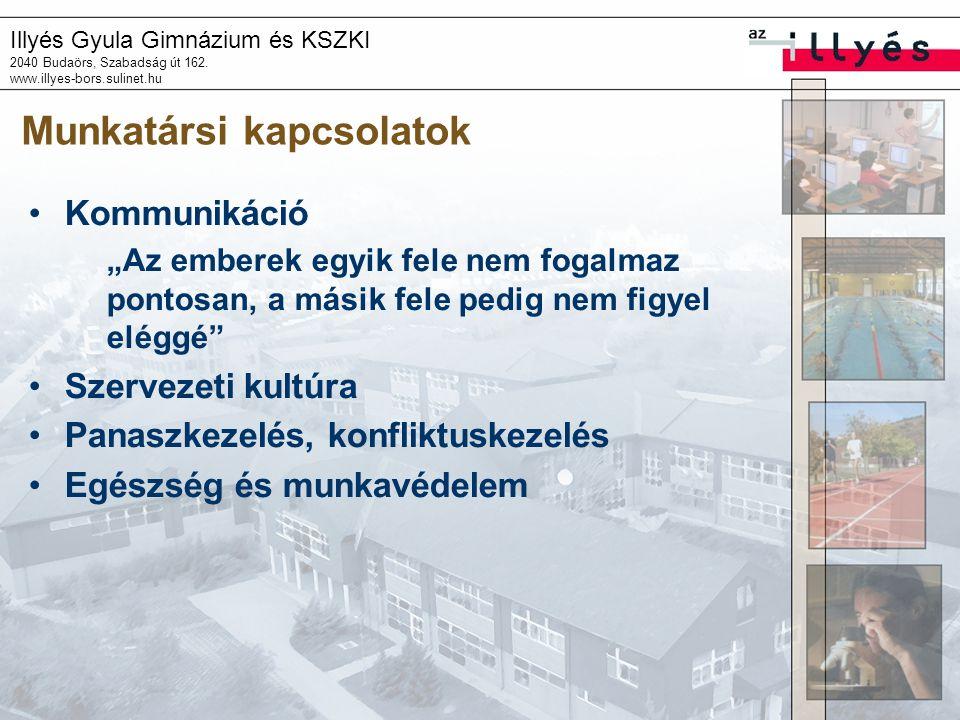 """Illyés Gyula Gimnázium és KSZKI 2040 Budaörs, Szabadság út 162. www.illyes-bors.sulinet.hu Munkatársi kapcsolatok Kommunikáció """"Az emberek egyik fele"""