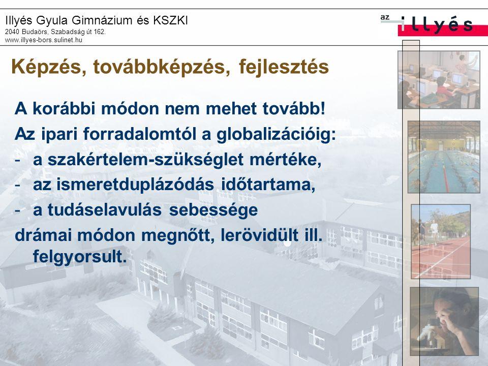 Illyés Gyula Gimnázium és KSZKI 2040 Budaörs, Szabadság út 162. www.illyes-bors.sulinet.hu Képzés, továbbképzés, fejlesztés A korábbi módon nem mehet