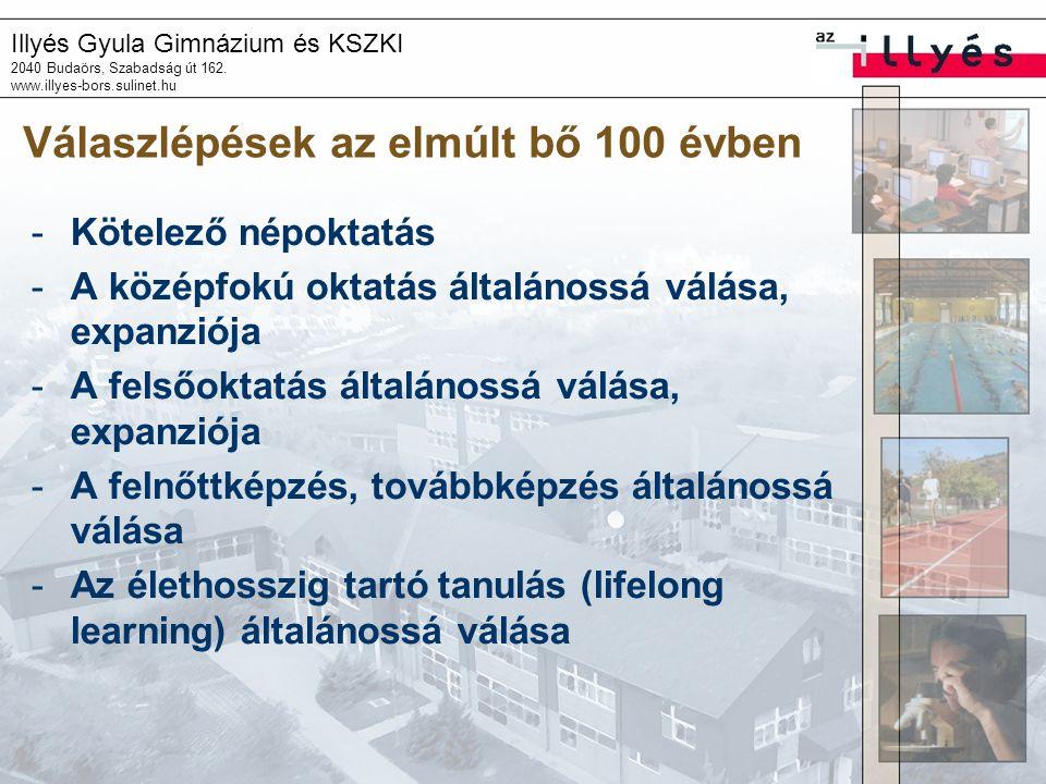 Illyés Gyula Gimnázium és KSZKI 2040 Budaörs, Szabadság út 162. www.illyes-bors.sulinet.hu Válaszlépések az elmúlt bő 100 évben -Kötelező népoktatás -