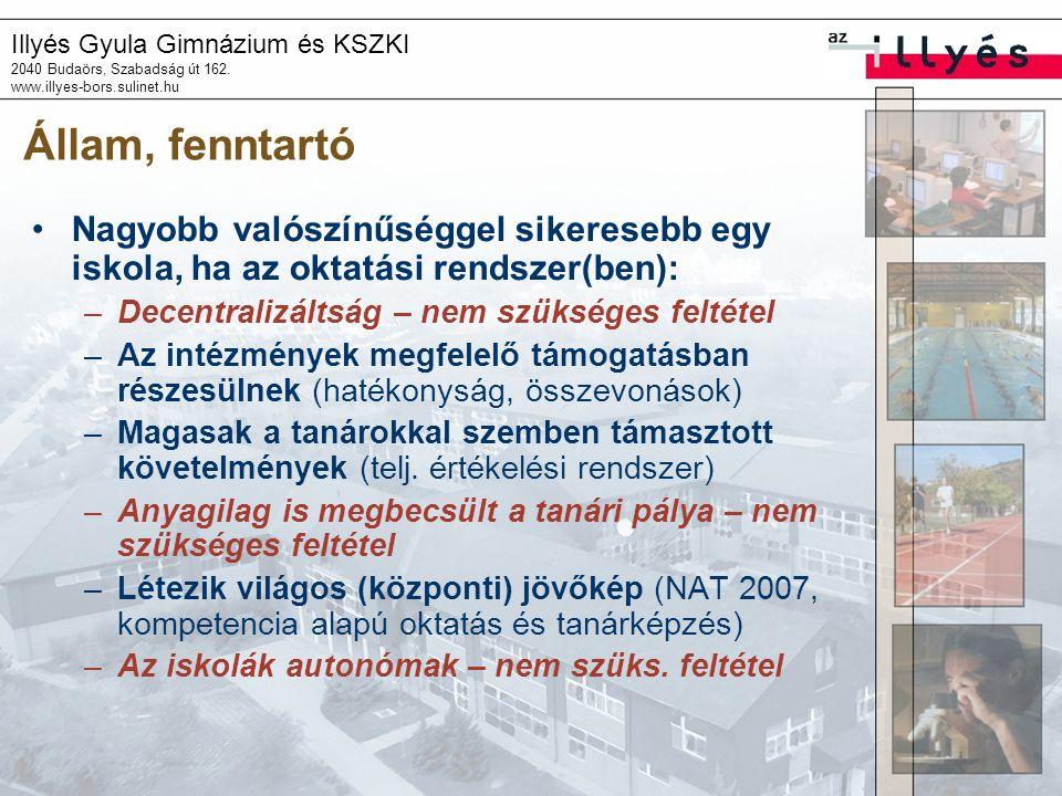 Illyés Gyula Gimnázium és KSZKI 2040 Budaörs, Szabadság út 162. www.illyes-bors.sulinet.hu Állam, fenntartó Nagyobb valószínűséggel sikeresebb egy isk