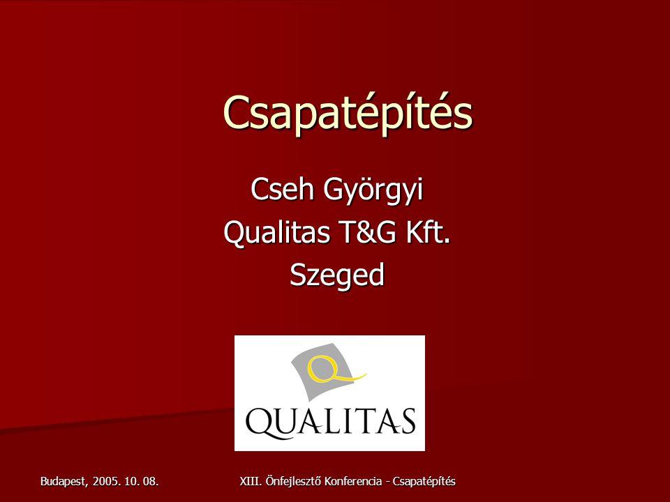 Budapest, 2005. 10. 08. XIII. Önfejlesztő Konferencia - Csapatépítés Csapatépítés Cseh Györgyi Qualitas T&G Kft. Szeged