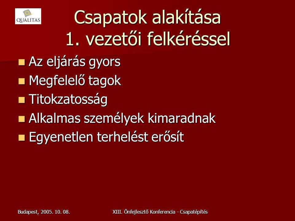 Budapest, 2005. 10. 08.XIII. Önfejlesztő Konferencia - Csapatépítés Csapatok alakítása 1. vezetői felkéréssel Az eljárás gyors Az eljárás gyors Megfel