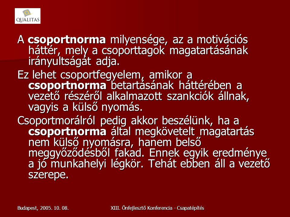 Budapest, 2005. 10. 08.XIII. Önfejlesztő Konferencia - Csapatépítés A csoportnorma milyensége, az a motivációs háttér, mely a csoporttagok magatartásá
