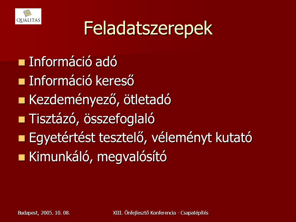 Budapest, 2005. 10. 08.XIII. Önfejlesztő Konferencia - Csapatépítés Feladatszerepek Információ adó Információ adó Információ kereső Információ kereső