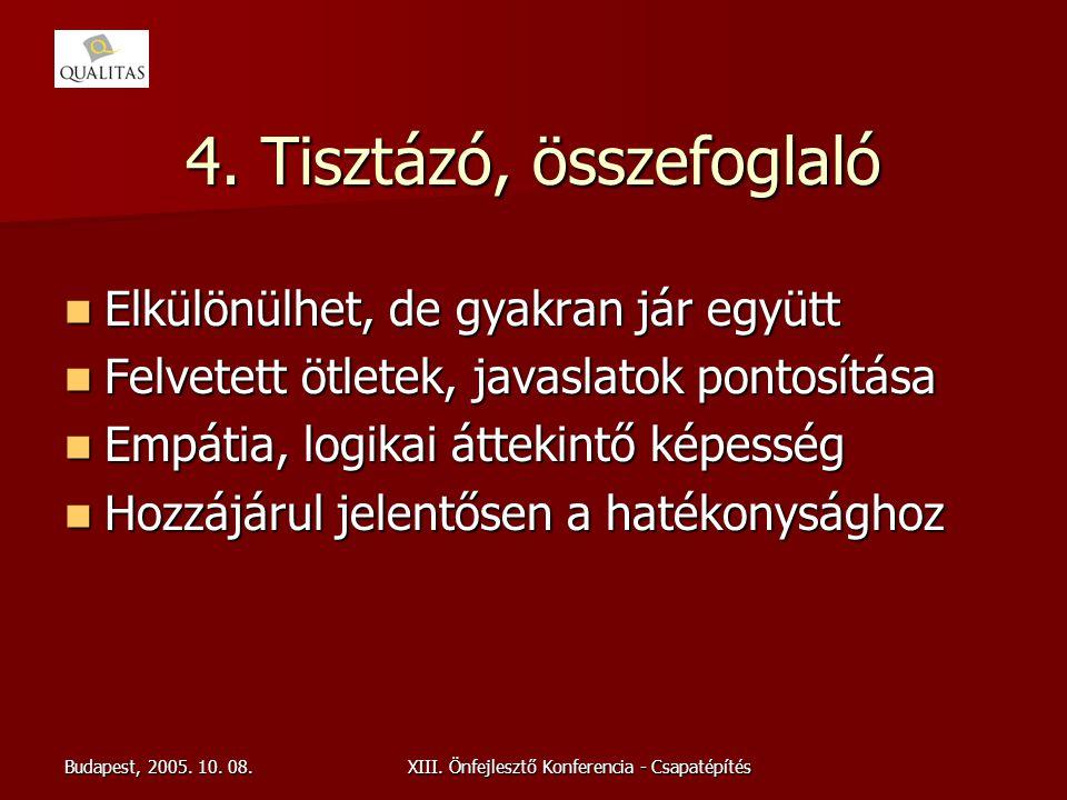 Budapest, 2005. 10. 08.XIII. Önfejlesztő Konferencia - Csapatépítés 4. Tisztázó, összefoglaló Elkülönülhet, de gyakran jár együtt Elkülönülhet, de gya