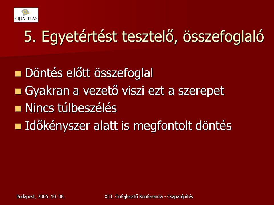 Budapest, 2005. 10. 08.XIII. Önfejlesztő Konferencia - Csapatépítés 5. Egyetértést tesztelő, összefoglaló Döntés előtt összefoglal Döntés előtt összef