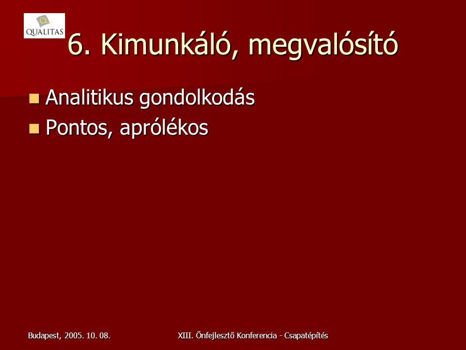 Budapest, 2005. 10. 08.XIII. Önfejlesztő Konferencia - Csapatépítés 6. Kimunkáló, megvalósító Analitikus gondolkodás Analitikus gondolkodás Pontos, ap