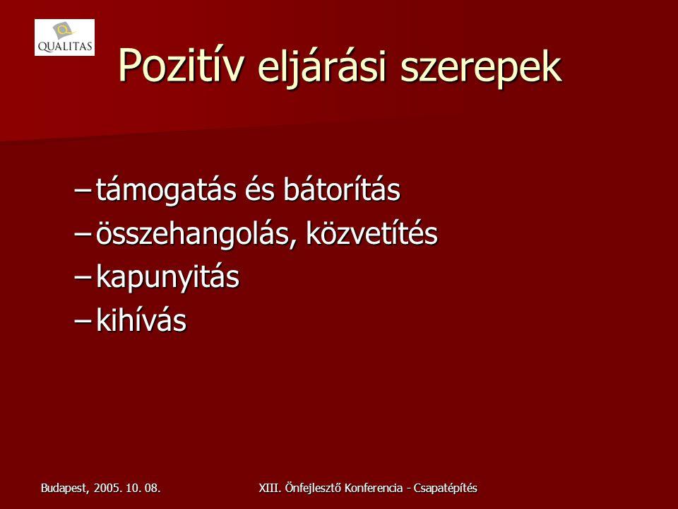 Budapest, 2005. 10. 08.XIII. Önfejlesztő Konferencia - Csapatépítés Pozitív eljárási szerepek –támogatás és bátorítás –összehangolás, közvetítés –kapu