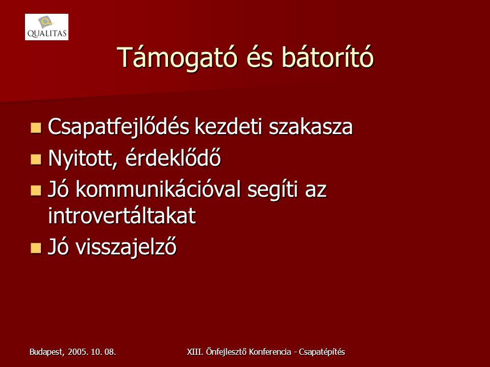 Budapest, 2005. 10. 08.XIII. Önfejlesztő Konferencia - Csapatépítés Támogató és bátorító Csapatfejlődés kezdeti szakasza Csapatfejlődés kezdeti szakas
