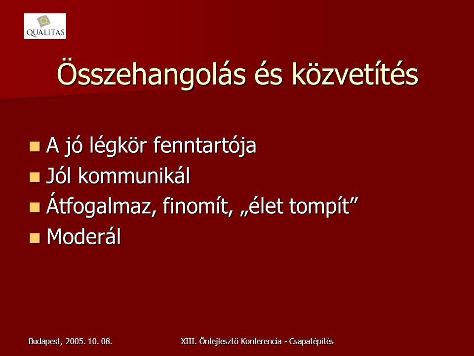 Budapest, 2005. 10. 08.XIII. Önfejlesztő Konferencia - Csapatépítés Összehangolás és közvetítés A jó légkör fenntartója A jó légkör fenntartója Jól ko