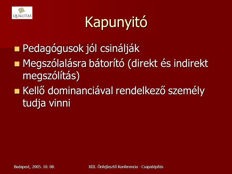 Budapest, 2005. 10. 08.XIII. Önfejlesztő Konferencia - Csapatépítés Kapunyitó Pedagógusok jól csinálják Pedagógusok jól csinálják Megszólalásra bátorí