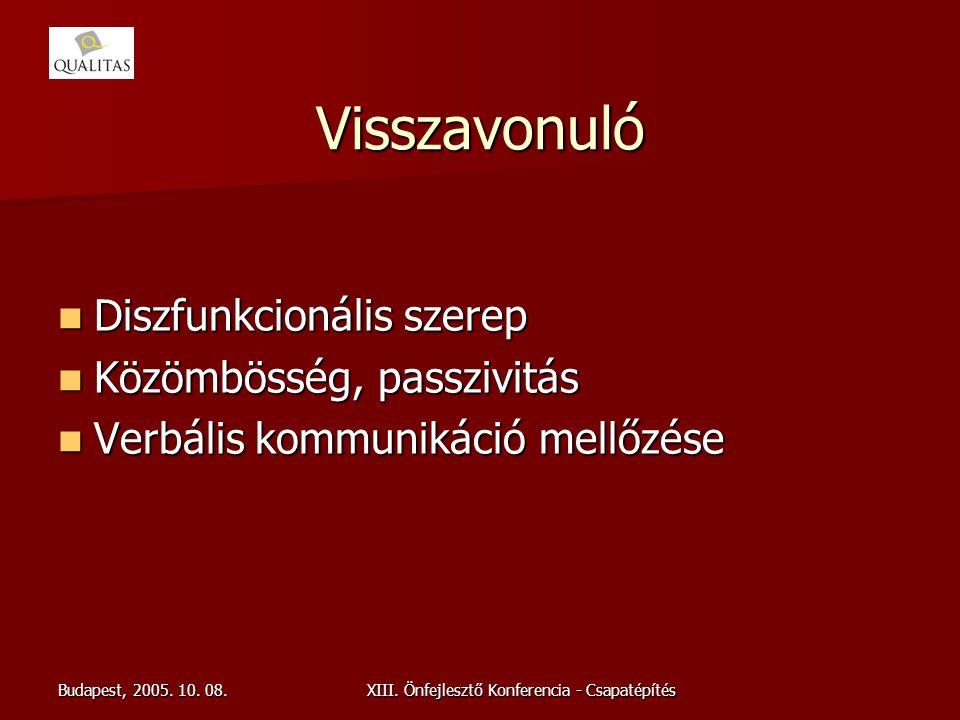Budapest, 2005. 10. 08.XIII. Önfejlesztő Konferencia - Csapatépítés Visszavonuló Diszfunkcionális szerep Diszfunkcionális szerep Közömbösség, passzivi