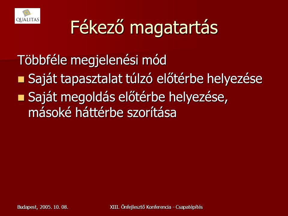 Budapest, 2005. 10. 08.XIII. Önfejlesztő Konferencia - Csapatépítés Fékező magatartás Többféle megjelenési mód Saját tapasztalat túlzó előtérbe helyez