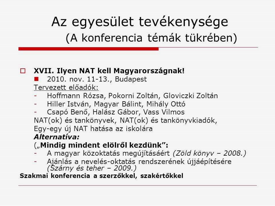Az egyesület tevékenysége (A konferencia témák tükrében)  XVII. Ilyen NAT kell Magyarországnak! 2010. nov. 11-13., Budapest Tervezett előadók: -Hoffm