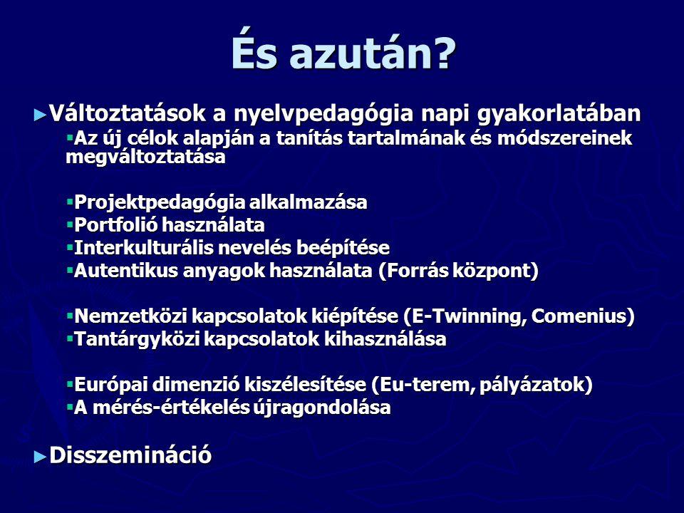 ► Változtatások a nyelvpedagógia napi gyakorlatában  Az új célok alapján a tanítás tartalmának és módszereinek megváltoztatása  Projektpedagógia alkalmazása  Portfolió használata  Interkulturális nevelés beépítése  Autentikus anyagok használata (Forrás központ)  Nemzetközi kapcsolatok kiépítése (E-Twinning, Comenius)  Tantárgyközi kapcsolatok kihasználása  Európai dimenzió kiszélesítése (Eu-terem, pályázatok)  A mérés-értékelés újragondolása ► Disszemináció És azután?