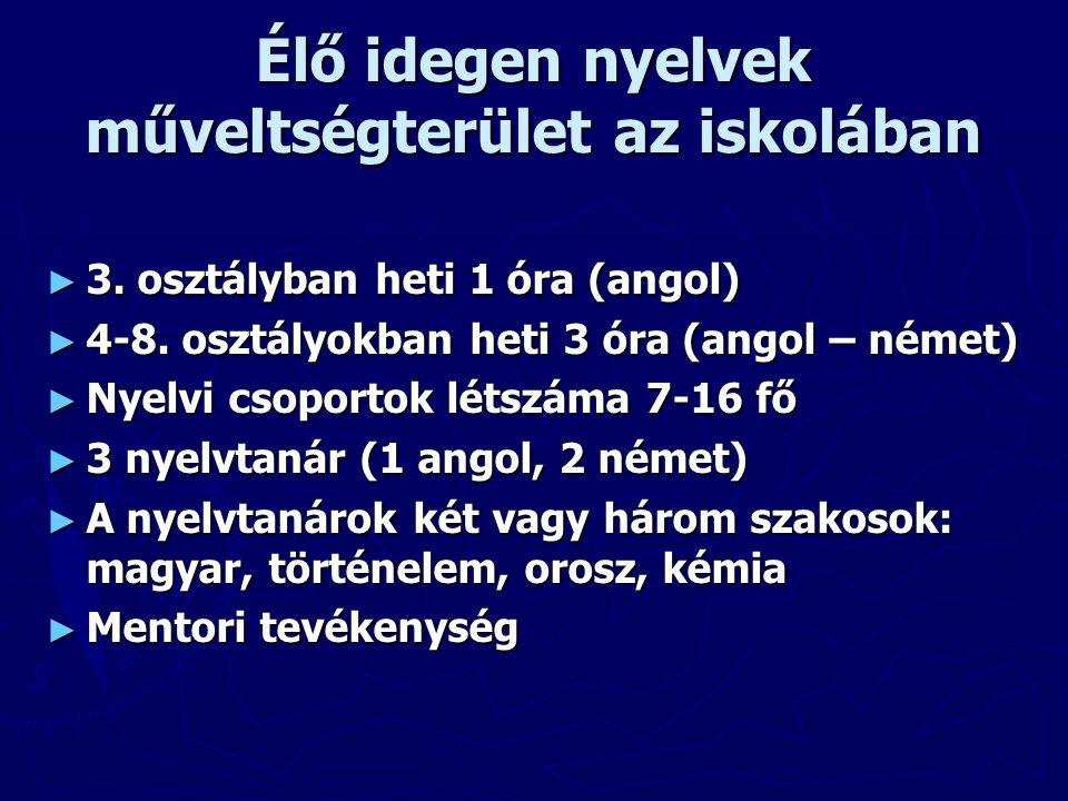 Élő idegen nyelvek műveltségterület az iskolában ► 3.
