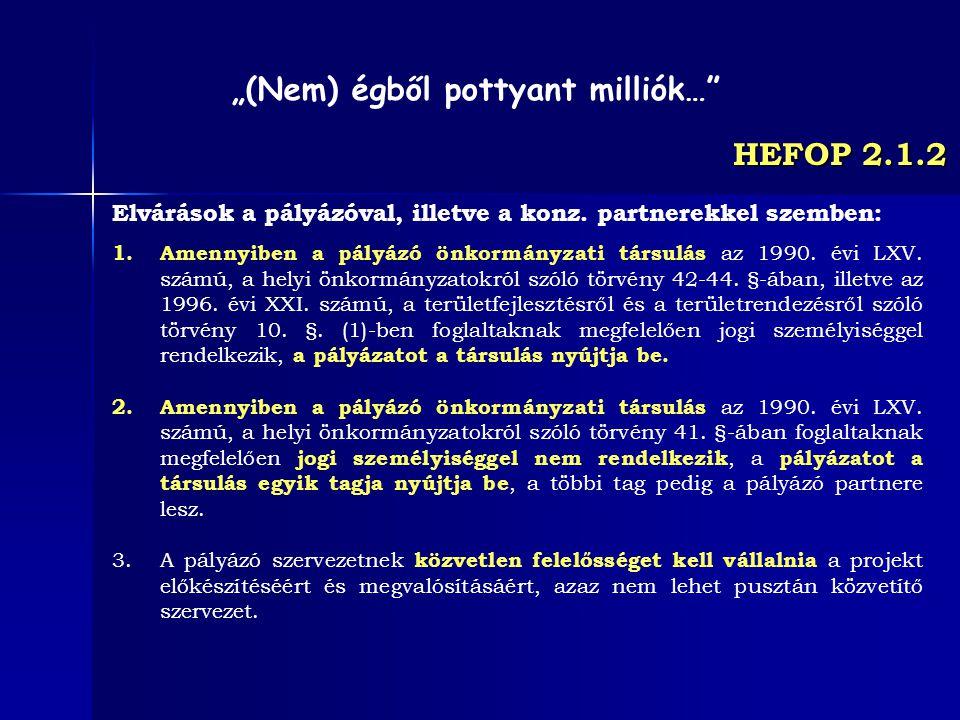 HEFOP 2.1.2 Elvárások a pályázóval, illetve a konz. partnerekkel szemben: 1.Amennyiben a pályázó önkormányzati társulás az 1990. évi LXV. számú, a hel